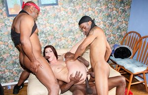 White hoe with red hair has interracial foursome with double penetration