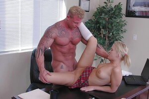 Smoking hot blonde student copulates with brawny principal in various ways
