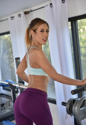 Dirty-minded Latina provokes fitness coach to make love her tight petite pussy